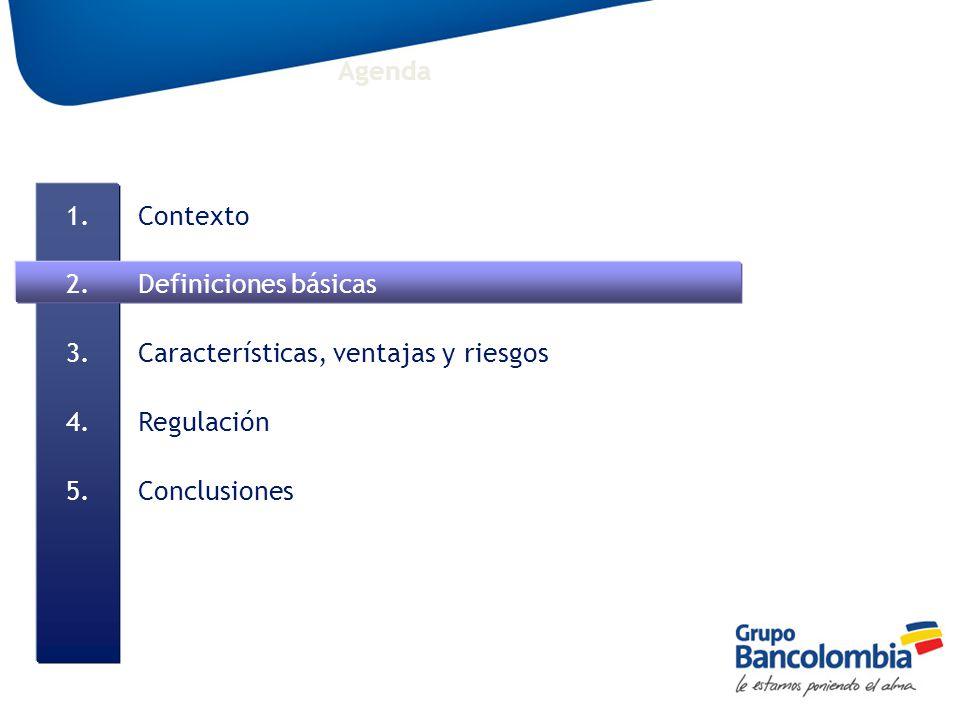 Agenda Contexto Definiciones básicas Características, ventajas y riesgos Regulación Conclusiones