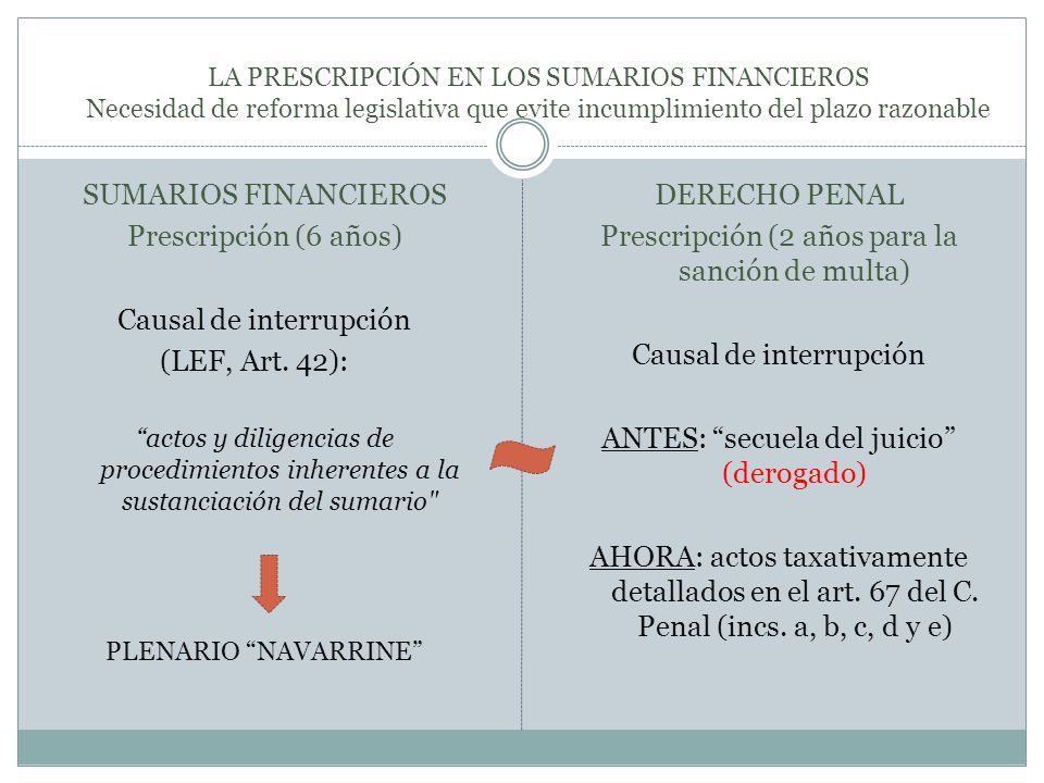 Causal de interrupción (LEF, Art. 42):