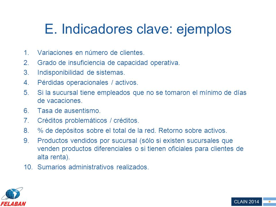 E. Indicadores clave: ejemplos