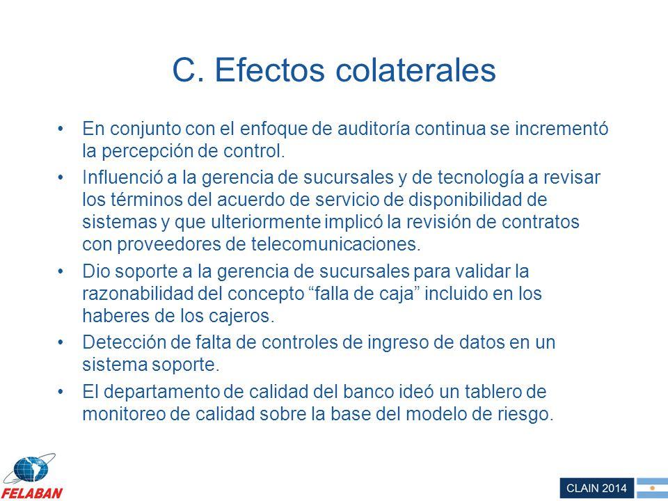 C. Efectos colaterales En conjunto con el enfoque de auditoría continua se incrementó la percepción de control.