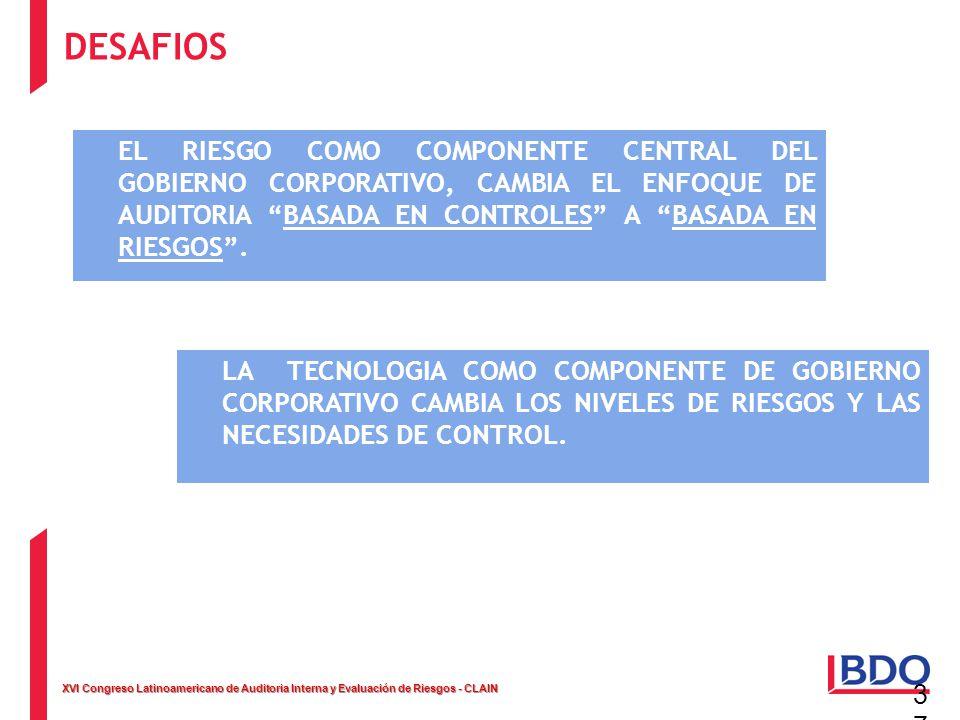 DESAFIOS EL RIESGO COMO COMPONENTE CENTRAL DEL GOBIERNO CORPORATIVO, CAMBIA EL ENFOQUE DE AUDITORIA BASADA EN CONTROLES A BASADA EN RIESGOS .