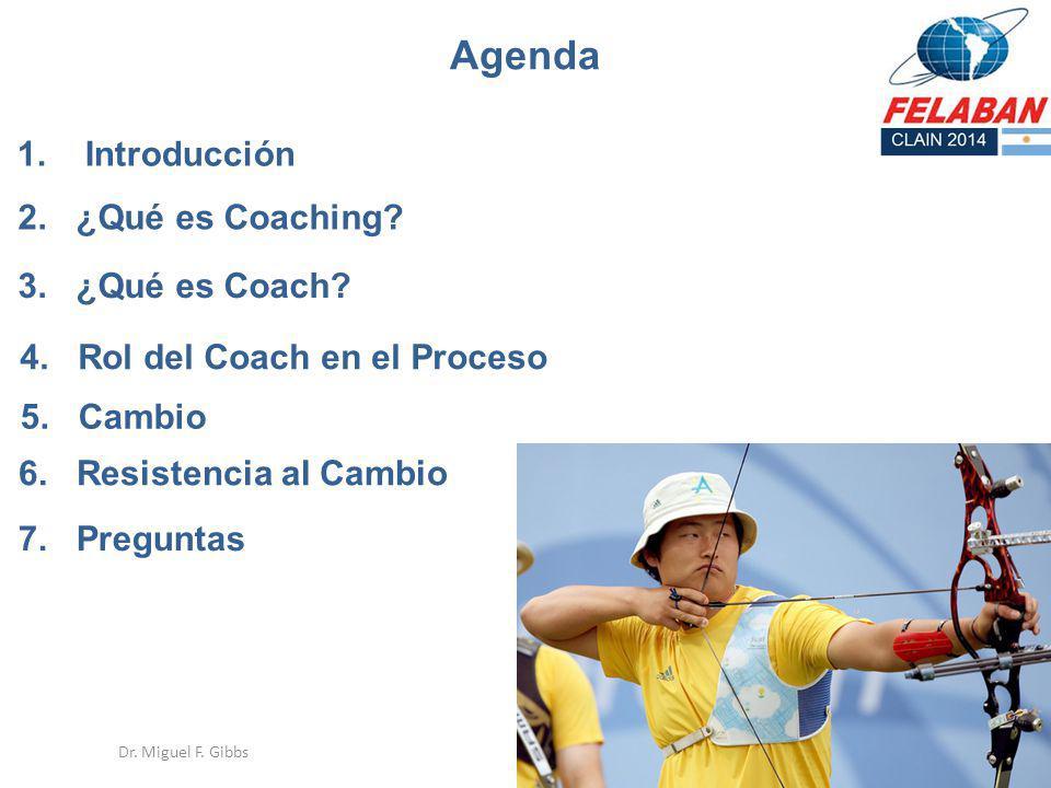 Agenda 1. Introducción 2. ¿Qué es Coaching 3. ¿Qué es Coach
