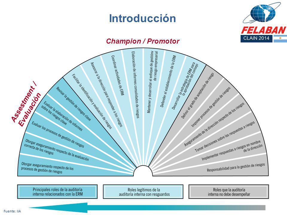 Introducción Champion / Promotor Assestment / Evaluación Fuente: IIA