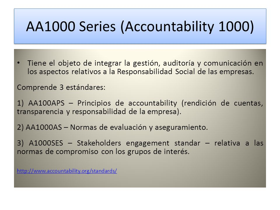 AA1000 Series (Accountability 1000)