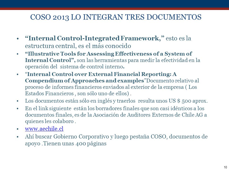 COSO 2013 LO INTEGRAN TRES DOCUMENTOS