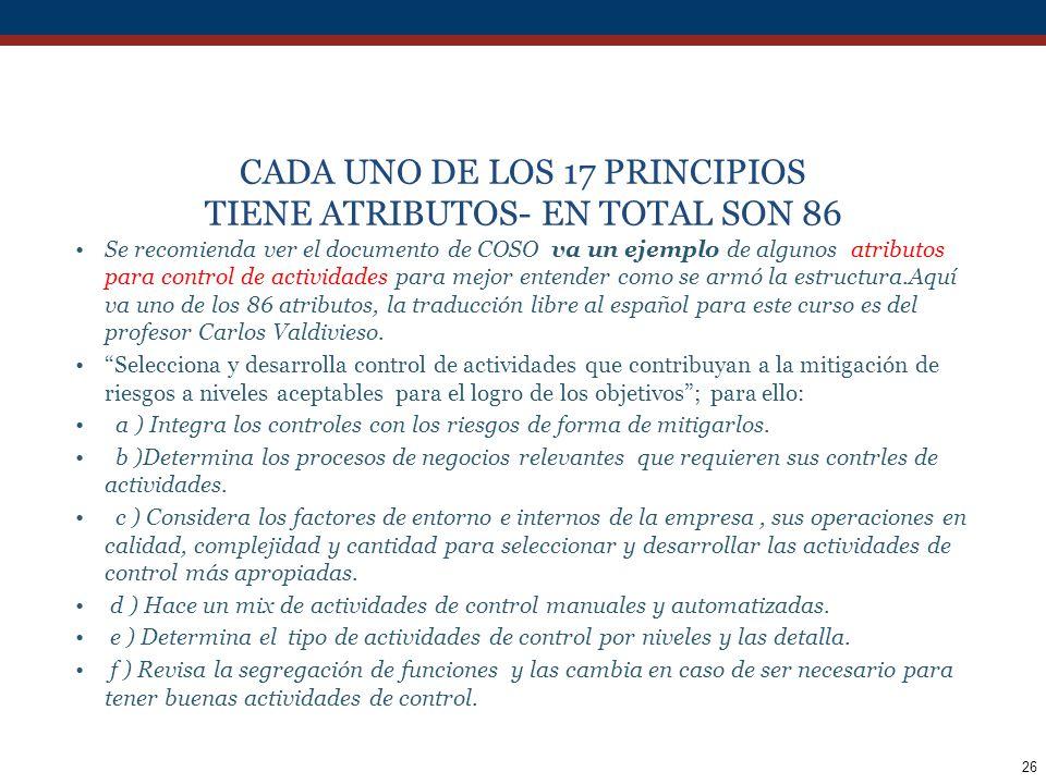 CADA UNO DE LOS 17 PRINCIPIOS TIENE ATRIBUTOS- EN TOTAL SON 86