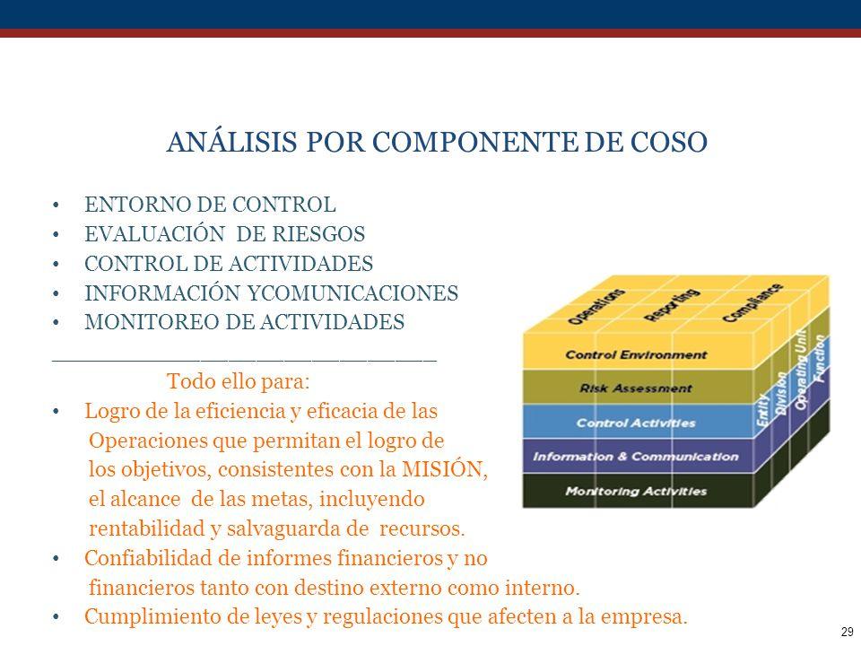 ANÁLISIS POR COMPONENTE DE COSO