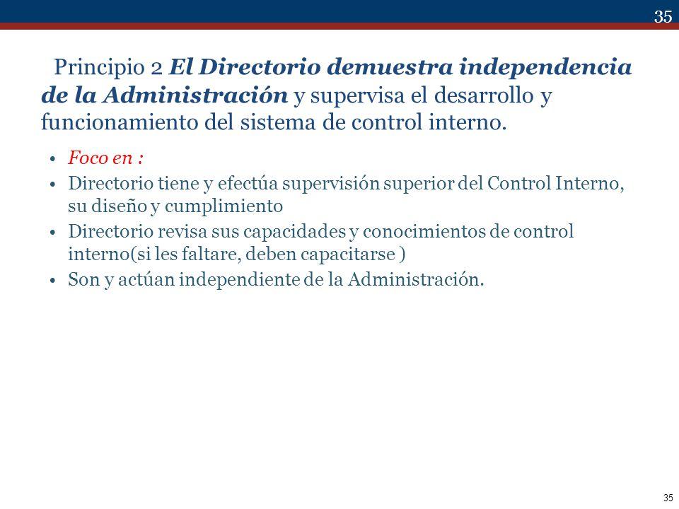 Principio 2 El Directorio demuestra independencia de la Administración y supervisa el desarrollo y funcionamiento del sistema de control interno.