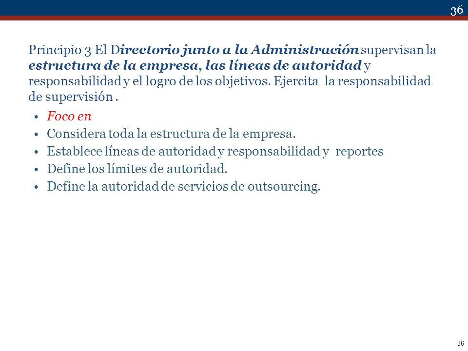 Principio 3 El Directorio junto a la Administración supervisan la estructura de la empresa, las líneas de autoridad y responsabilidad y el logro de los objetivos. Ejercita la responsabilidad de supervisión .