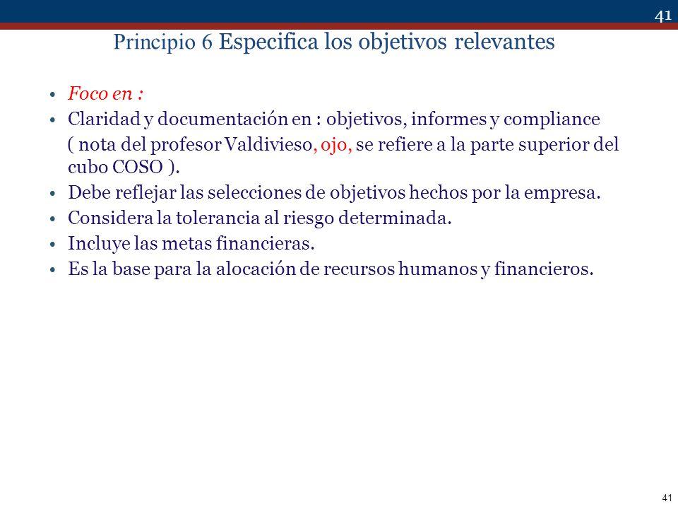 Principio 6 Especifica los objetivos relevantes