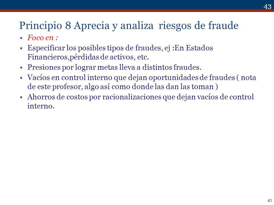 Principio 8 Aprecia y analiza riesgos de fraude