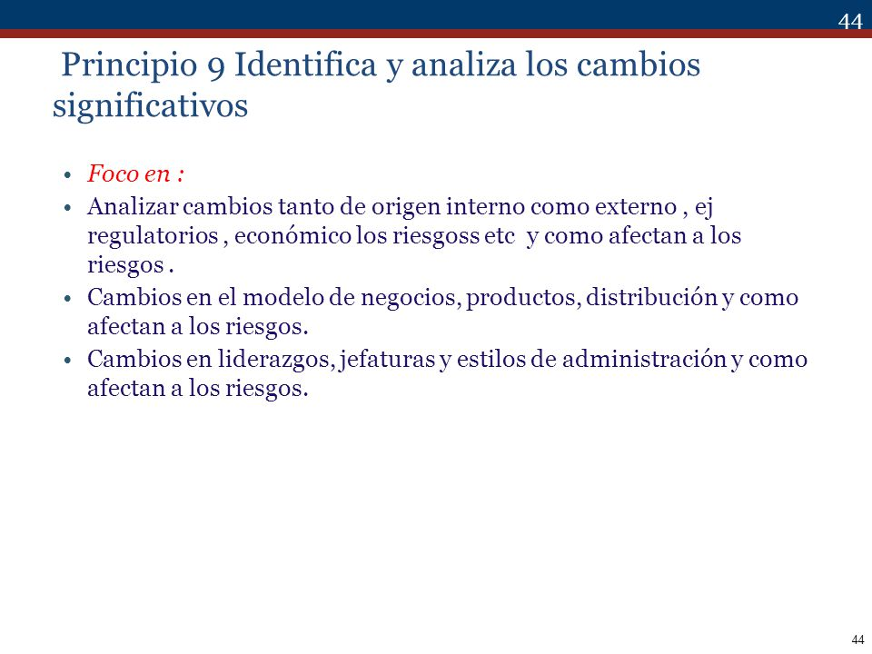 Principio 9 Identifica y analiza los cambios significativos