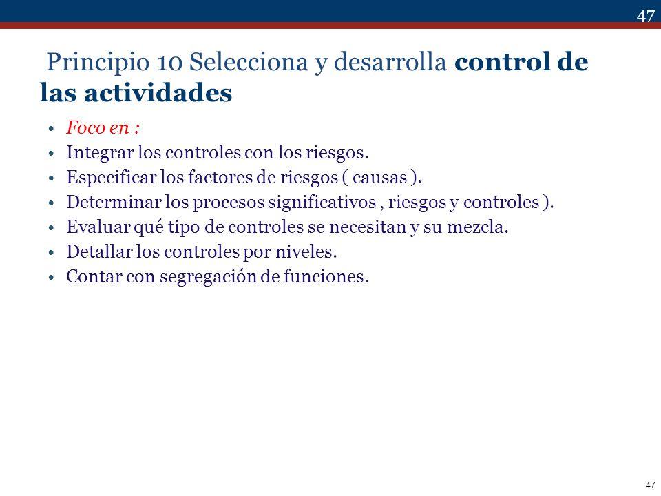 Principio 10 Selecciona y desarrolla control de las actividades