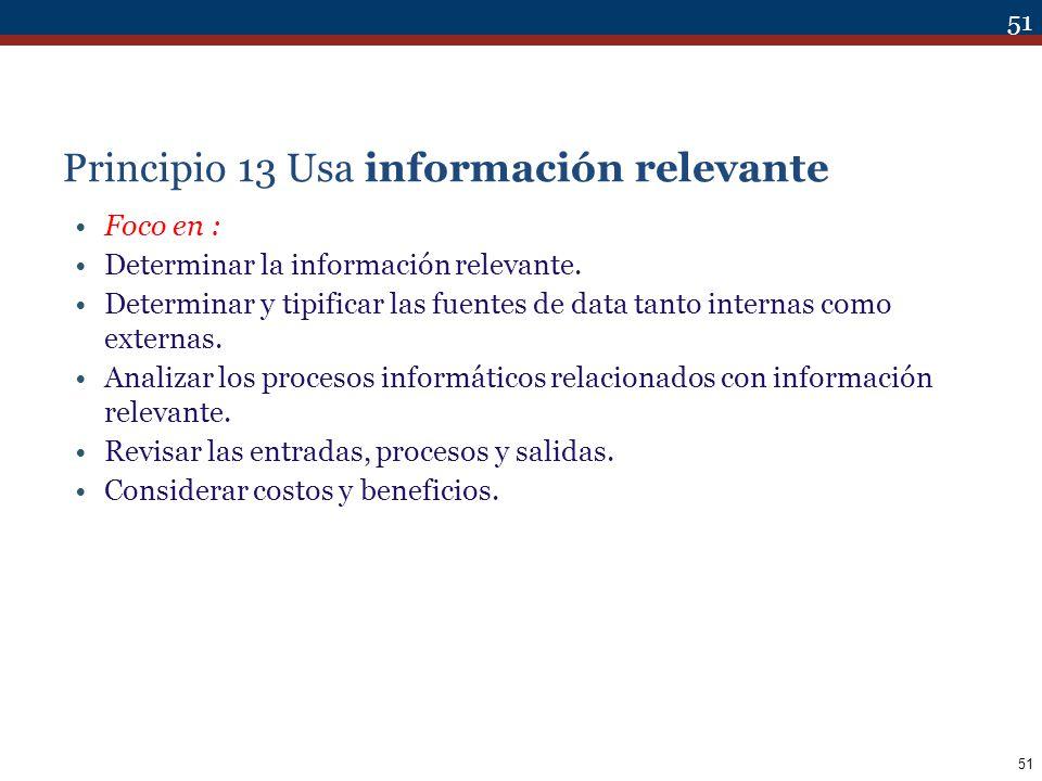Principio 13 Usa información relevante