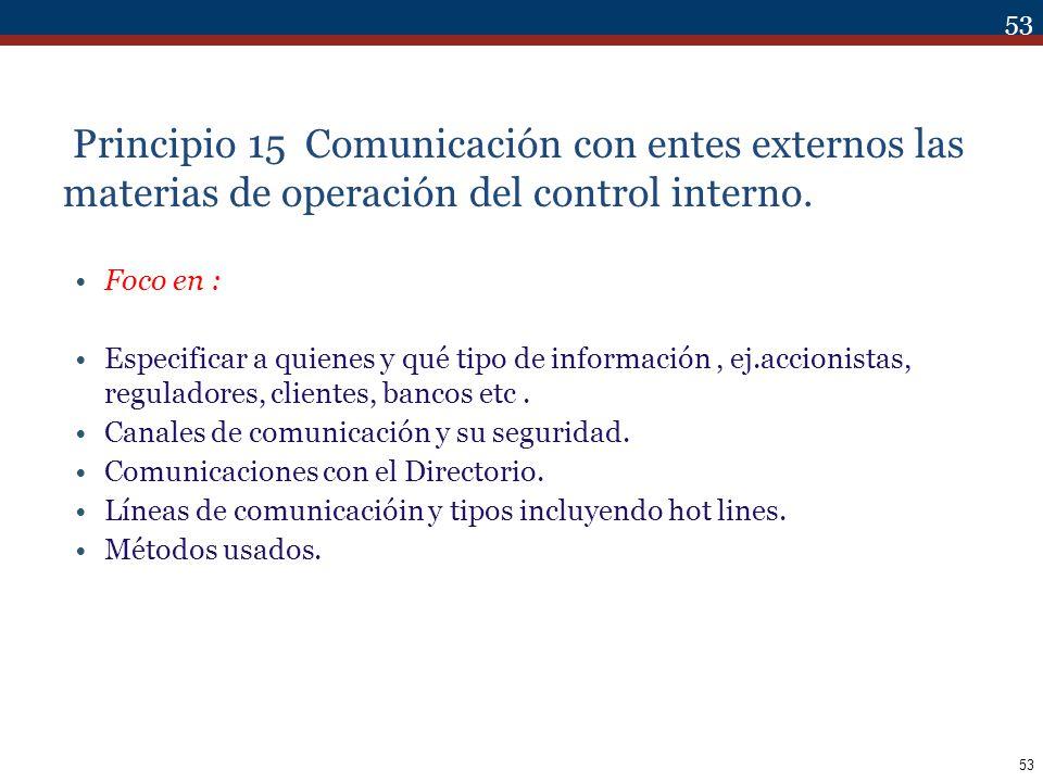 Principio 15 Comunicación con entes externos las materias de operación del control interno.