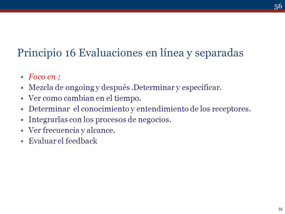 Principio 16 Evaluaciones en línea y separadas