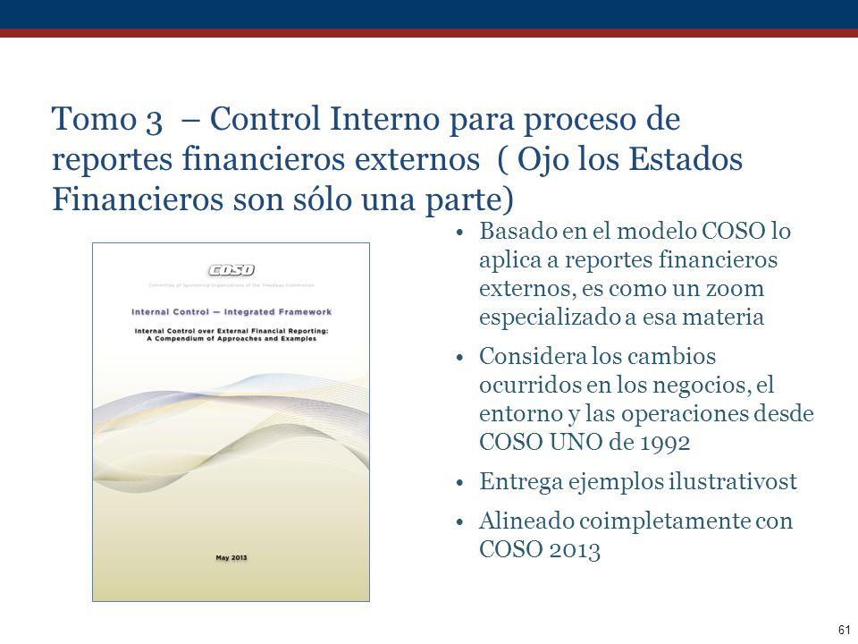 Tomo 3 – Control Interno para proceso de reportes financieros externos ( Ojo los Estados Financieros son sólo una parte)