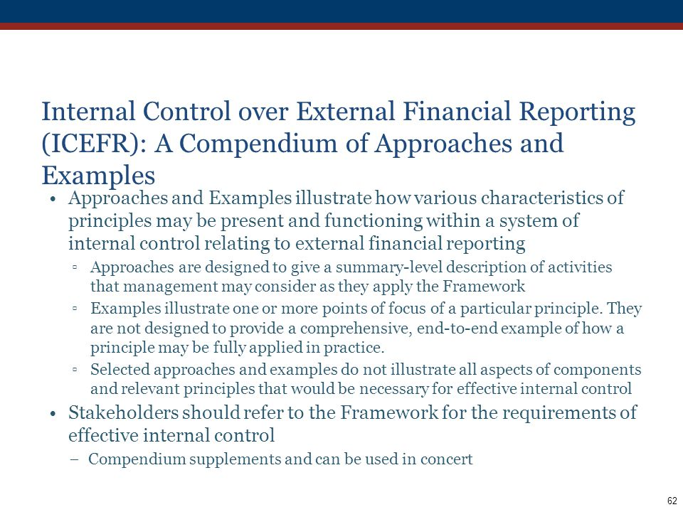 Internal Control over External Financial Reporting (ICEFR): A Compendium of Approaches and Examples