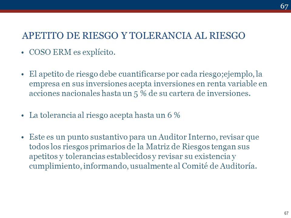 APETITO DE RIESGO Y TOLERANCIA AL RIESGO