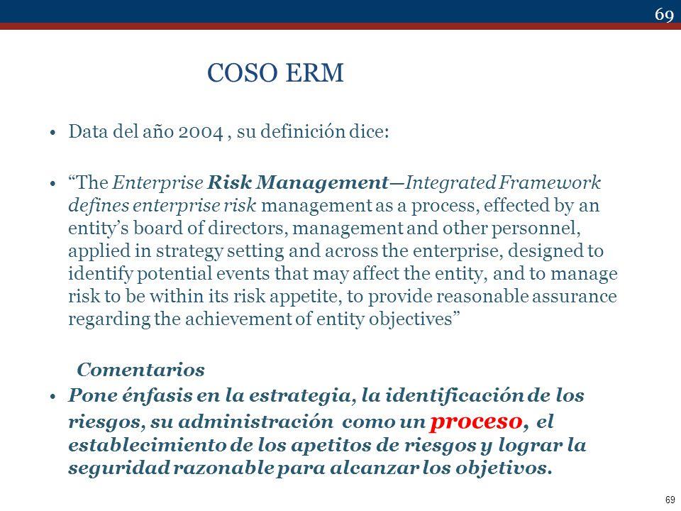 COSO ERM Data del año 2004 , su definición dice: