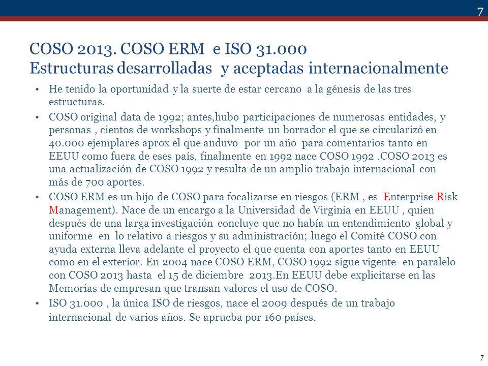 COSO 2013. COSO ERM e ISO 31.000 Estructuras desarrolladas y aceptadas internacionalmente