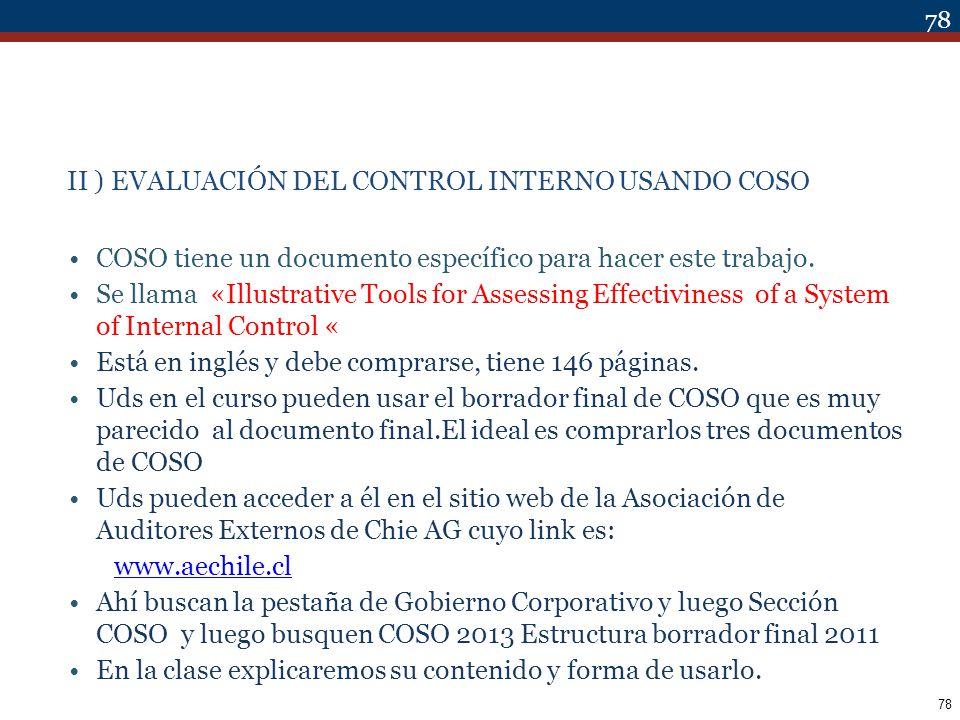 II ) EVALUACIÓN DEL CONTROL INTERNO USANDO COSO