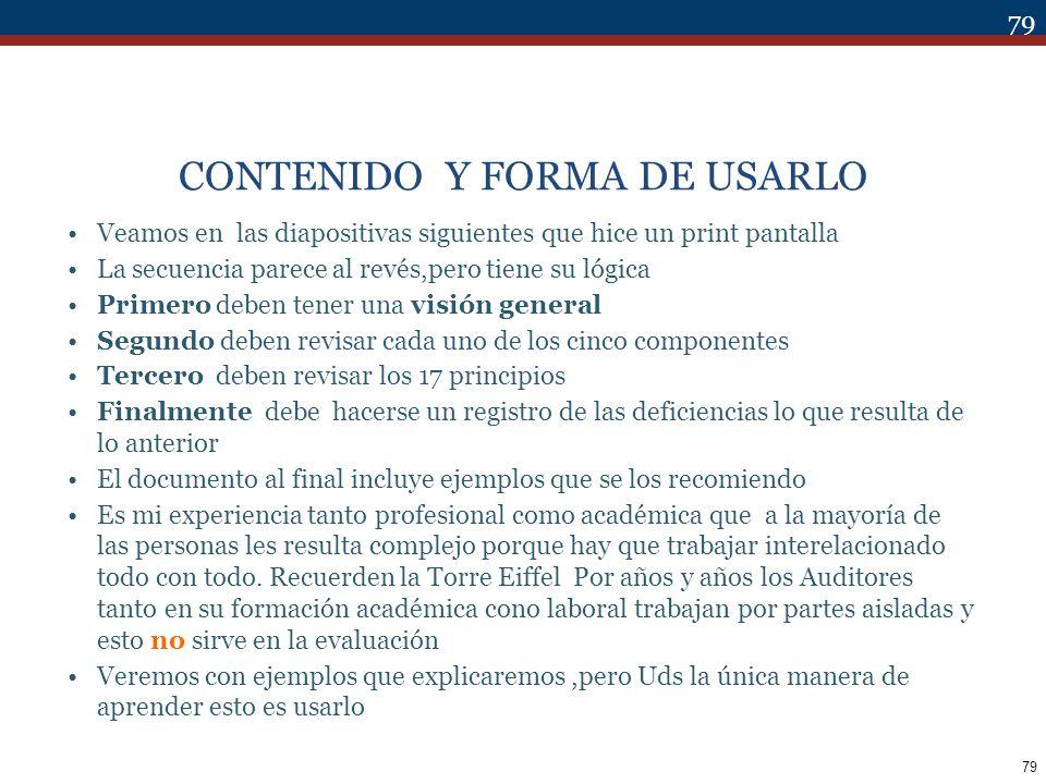 CONTENIDO Y FORMA DE USARLO