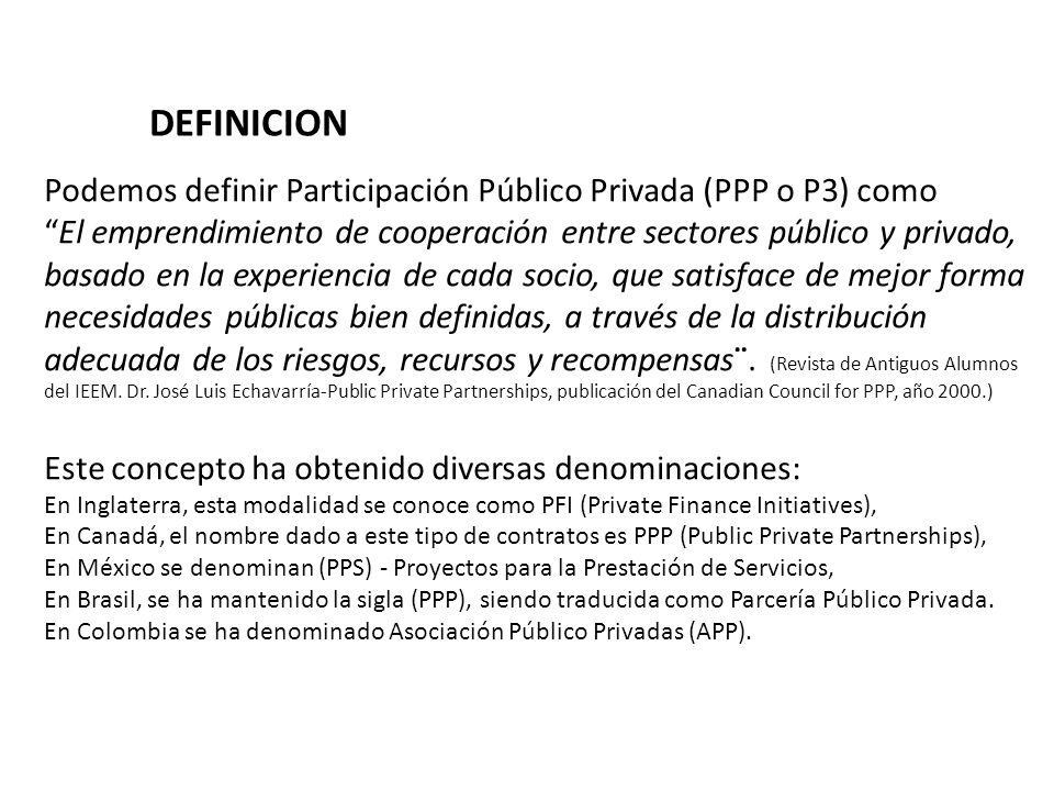 DEFINICION Podemos definir Participación Público Privada (PPP o P3) como. El emprendimiento de cooperación entre sectores público y privado,
