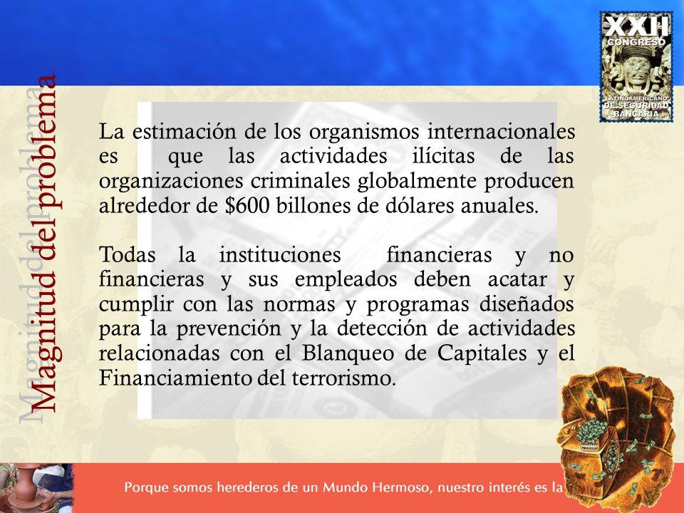 La estimación de los organismos internacionales es que las actividades ilícitas de las organizaciones criminales globalmente producen alrededor de $600 billones de dólares anuales.