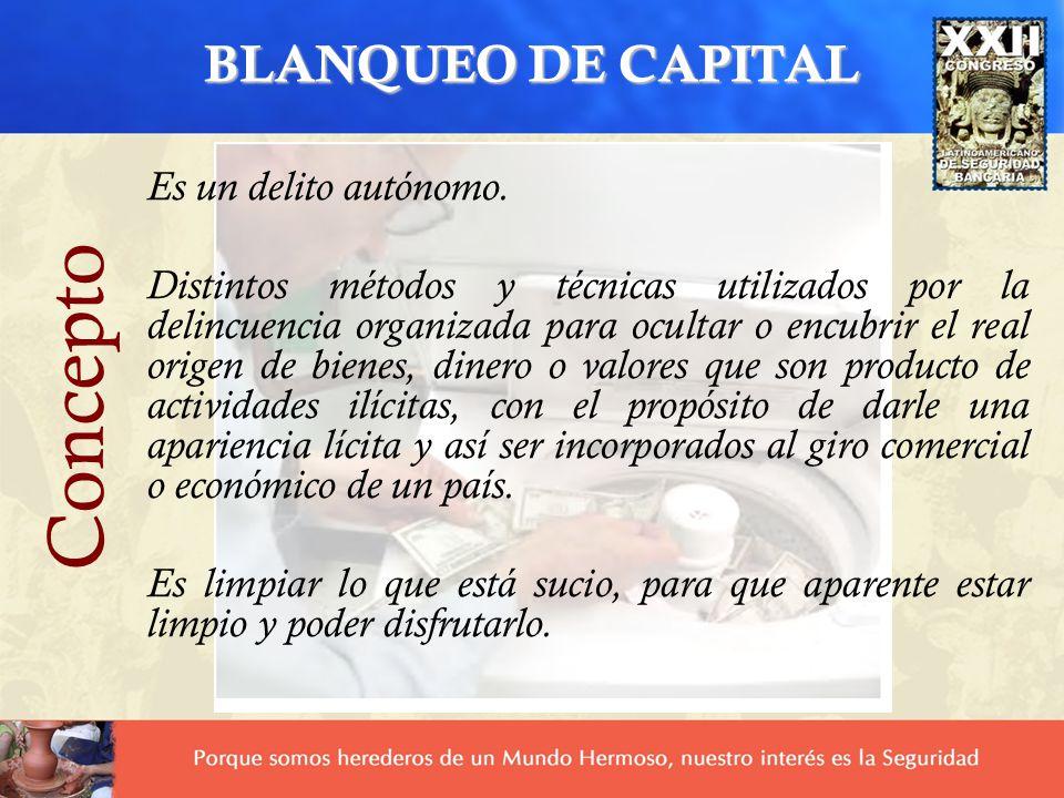 Concepto BLANQUEO DE CAPITAL Es un delito autónomo.