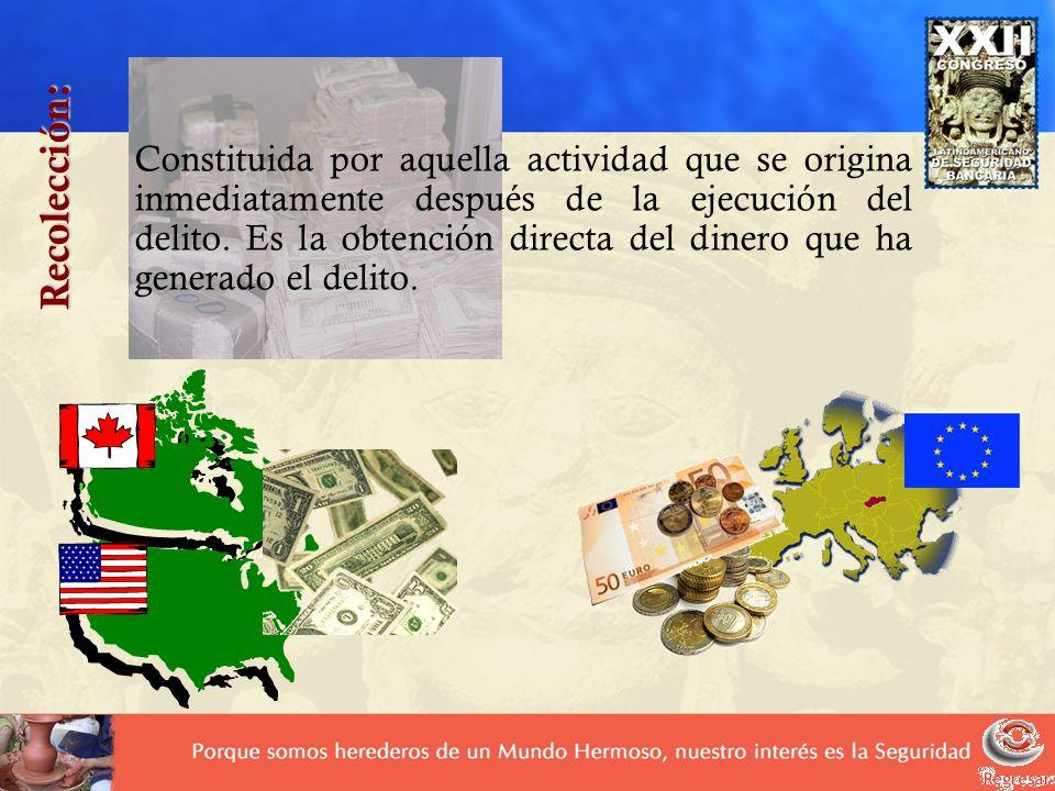 Constituida por aquella actividad que se origina inmediatamente después de la ejecución del delito. Es la obtención directa del dinero que ha generado el delito.