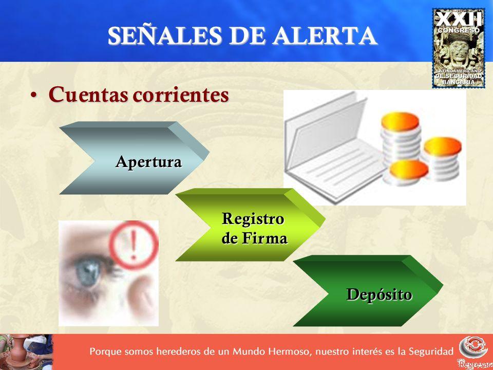 SEÑALES DE ALERTA Cuentas corrientes Apertura Registro de Firma