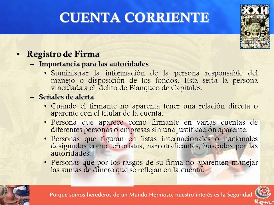 CUENTA CORRIENTE Registro de Firma Importancia para las autoridades