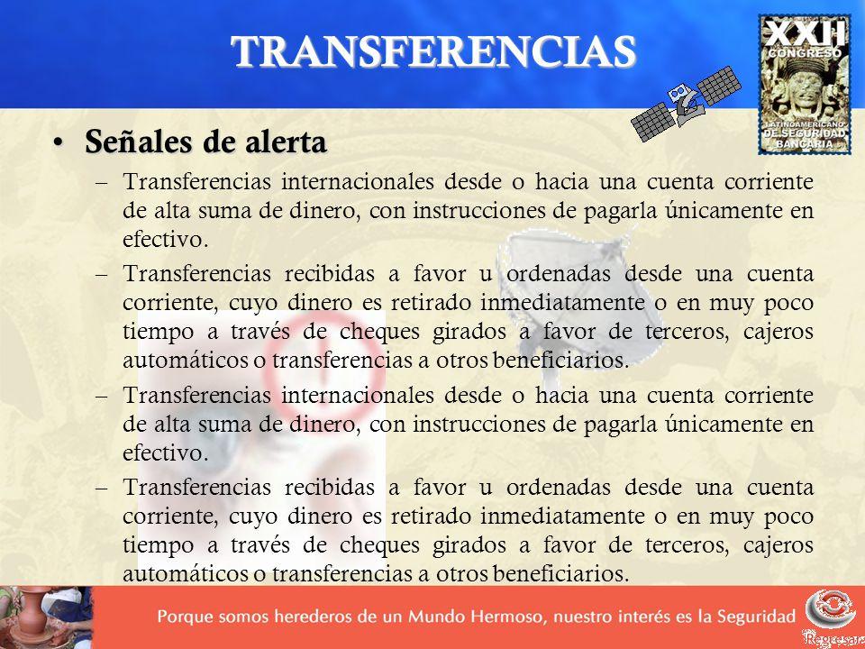 TRANSFERENCIAS Señales de alerta