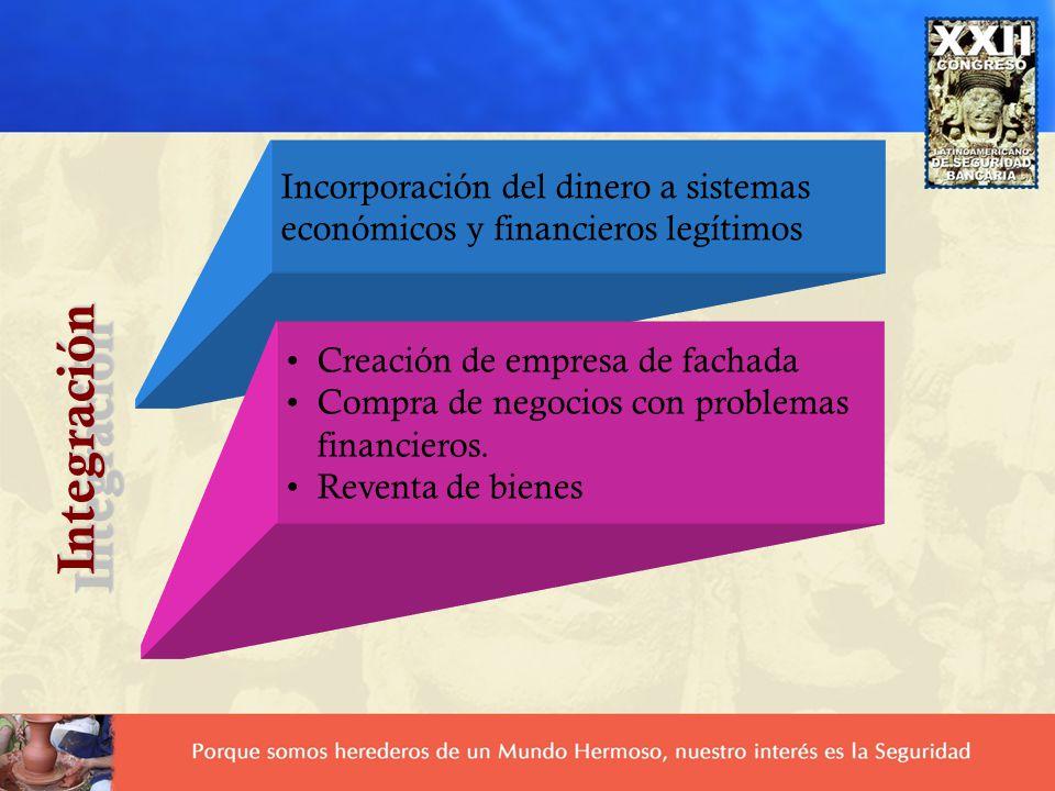 Incorporación del dinero a sistemas económicos y financieros legítimos