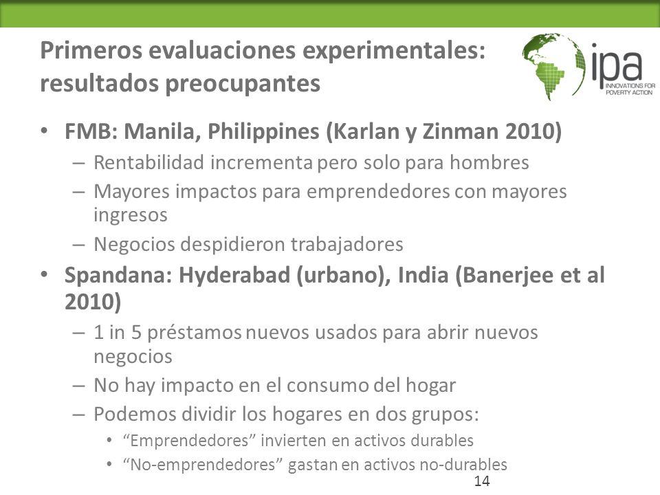 Primeros evaluaciones experimentales: resultados preocupantes