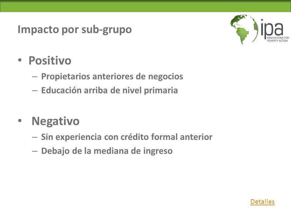 Positivo Negativo Impacto por sub-grupo