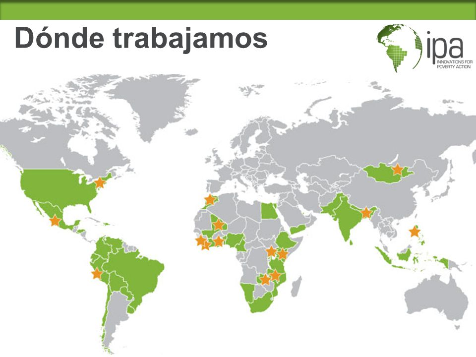 Dónde trabajamos -Over 350 projects in 51 countries.