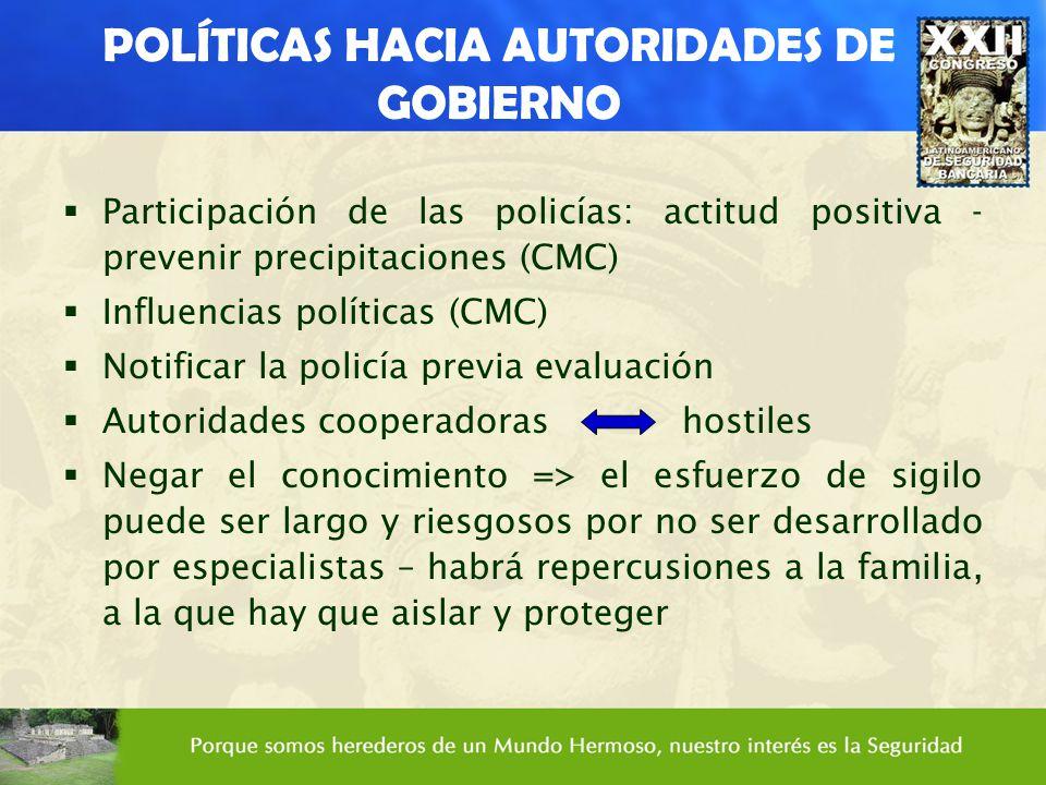 POLÍTICAS HACIA AUTORIDADES DE GOBIERNO