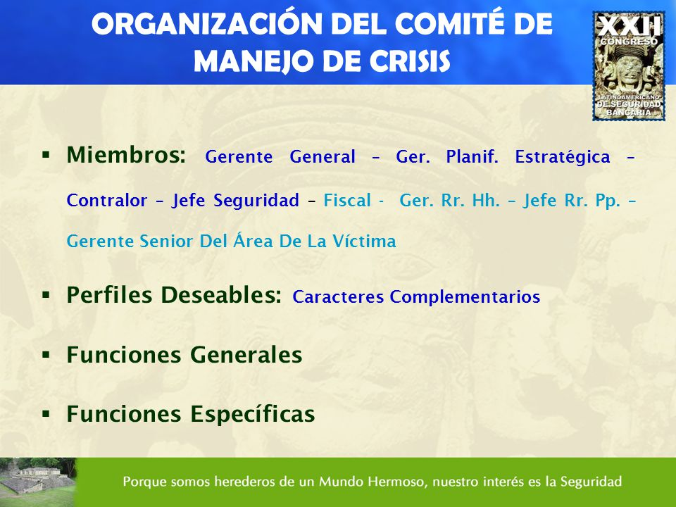 ORGANIZACIÓN DEL COMITÉ DE MANEJO DE CRISIS