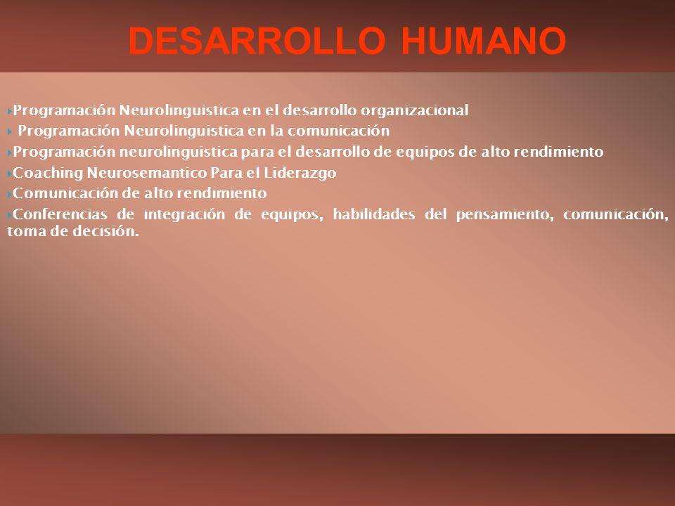 DESARROLLO HUMANO Programación Neurolinguistica en el desarrollo organizacional. Programación Neurolinguistica en la comunicación.