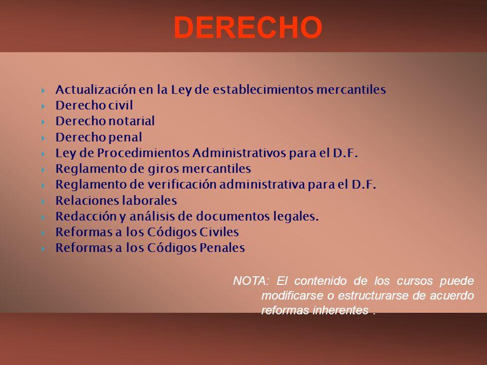 DERECHO Actualización en la Ley de establecimientos mercantiles