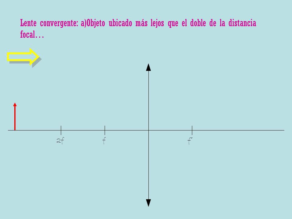 Lente convergente: a)Objeto ubicado más lejos que el doble de la distancia focal…