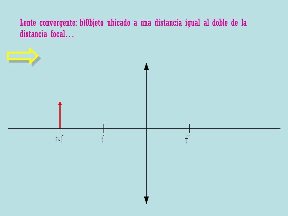 Lente convergente: b)Objeto ubicado a una distancia igual al doble de la distancia focal…