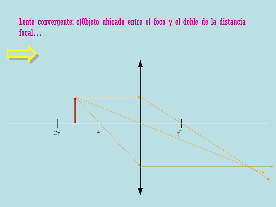 Lente convergente: c)Objeto ubicado entre el foco y el doble de la distancia focal…