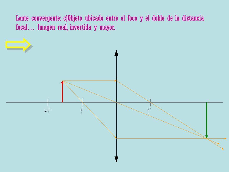 Lente convergente: c)Objeto ubicado entre el foco y el doble de la distancia focal… Imagen real, invertida y mayor.