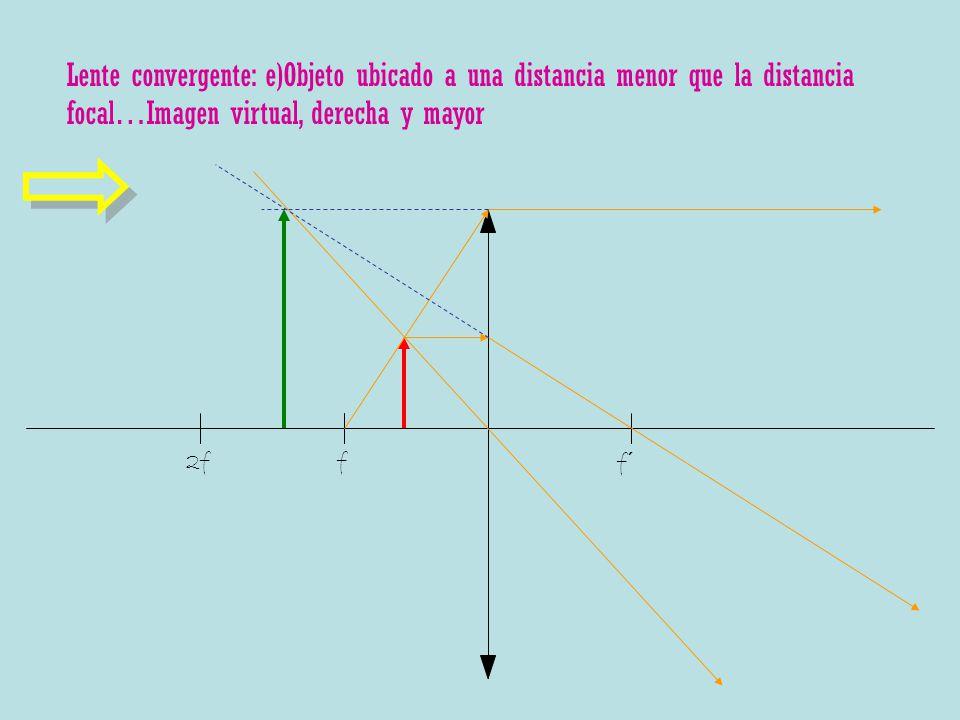 Lente convergente: e)Objeto ubicado a una distancia menor que la distancia focal…Imagen virtual, derecha y mayor