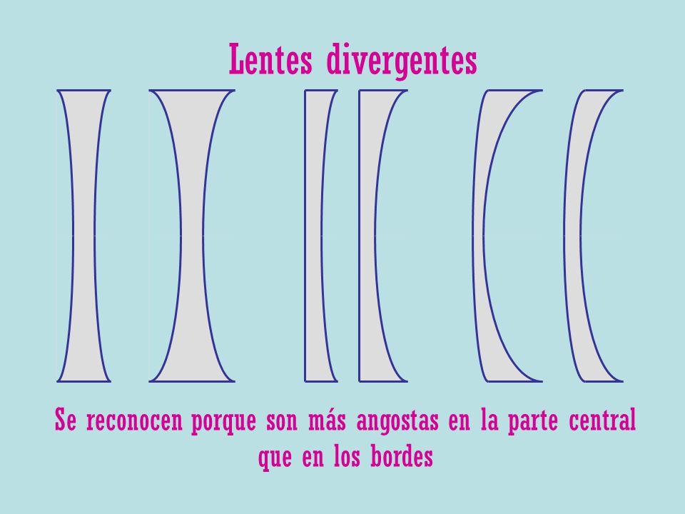 Lentes divergentes Se reconocen porque son más angostas en la parte central que en los bordes