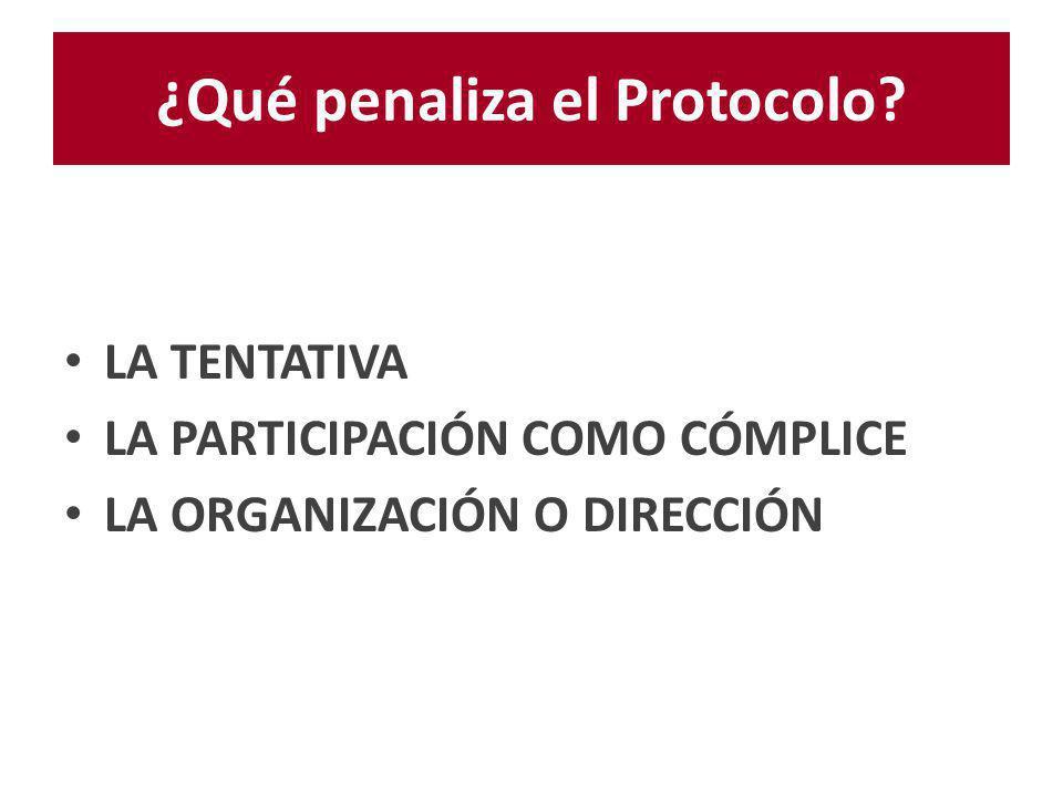 ¿Qué penaliza el Protocolo