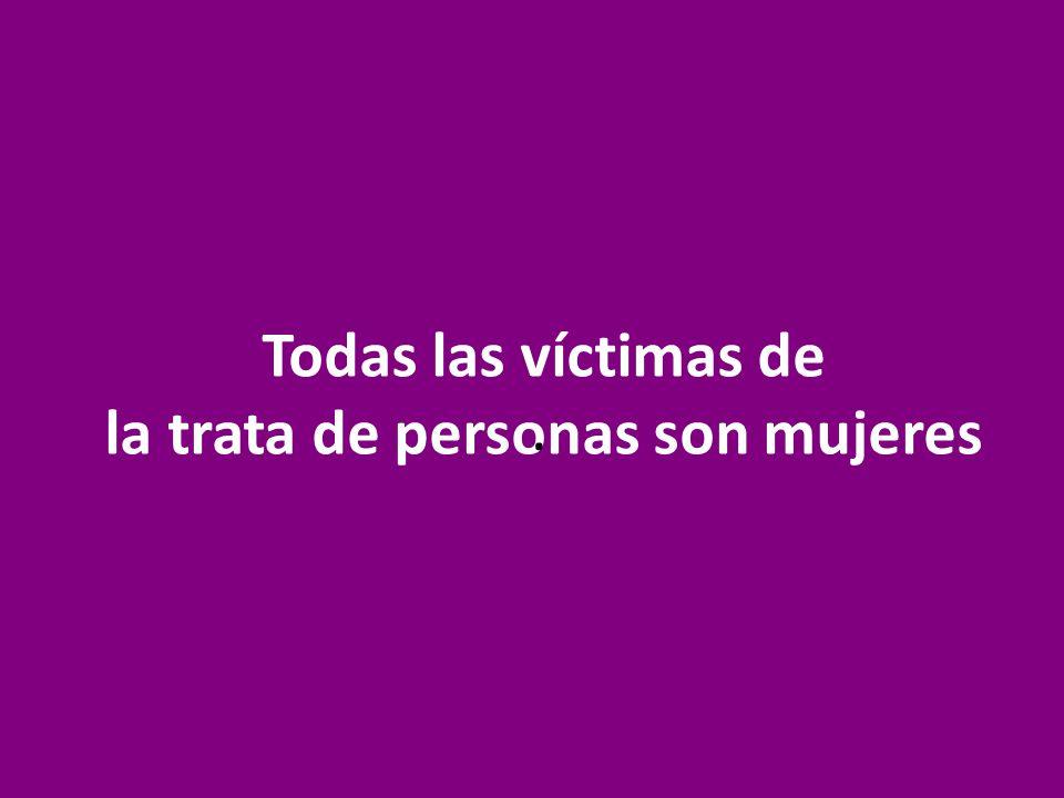 Todas las víctimas de la trata de personas son mujeres